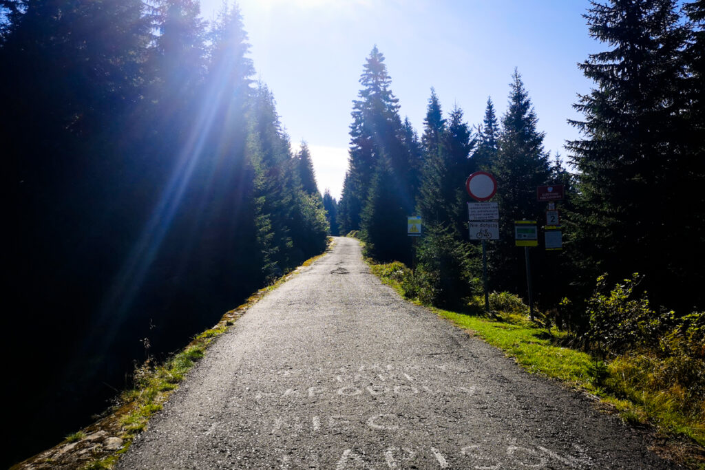 Sudecka Road, border of the Karkonosze National Park